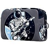 Bolsa de cosméticos para guitarra eléctrica de astronauta para mujer, adorable bolsa de maquillaje espaciosa, bolsa de viaje impermeable