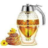 goldmiky Dispensador de Miel con Soporte - Contenedor de Cocina de Acrílico Transparente Portátil,Irrompible y Sin BPA,Sin Goteo,Tarro de Miel Reutilizable para Aderezo de Jugo de Ensalada de Azúcar