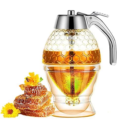 goldmiky Honigtöpfe,Honigspender mit Ständer,Olivenöl- und Essig Spender,Barista Sirup-/ Honigspender,Kein Tropfen,für Saft,Grillen,Salat,Frühstücksbrot,Küchengewürzflasche