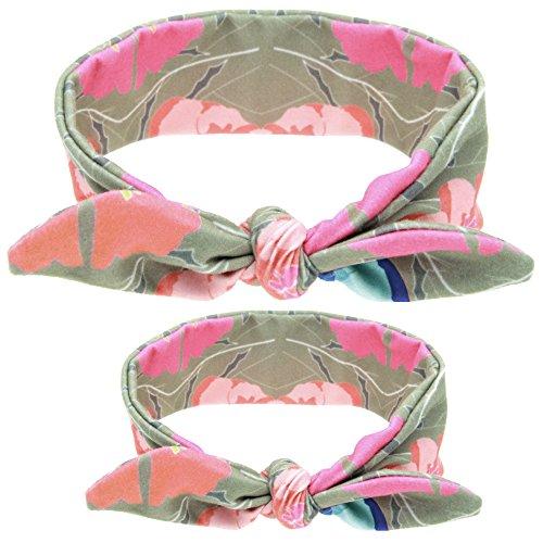 CHIC-CHIC 2 Pièces Mère et Bébé Bandeau de Cheveux Lapin Oreille Tartan Nœud Papillon Bowknot Mignon Déguisement Elastique (Kaki Fleur)