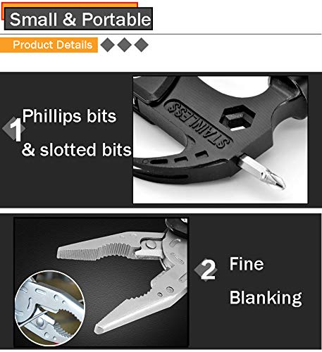 Multi tool for Men with Durable Sheath, 14 in 1 Camping Tool Fishing Pliers Knife Screwdriver for Women, Bottle Opener Saw Unique Gifts
