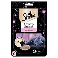 Resistance is futile with Sheba´s exquisite line of cat food and treats / Creamy snacks are splendid for special moments with your cat / Treats come in 12-g stick sachets, purr-fectly ready to eat Delicious salmon snack with rich creamy texture / Eac...