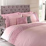 Chateau de Belle Maison Bettwäsche-Set aus Polycotton, besetzt mit Rosen und Bändern, für Einzelbett, rosa