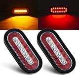 Tinpec 2PCS Oval LED Trailer Tail Lights with 23 LED Bulbs Waterproof Stop