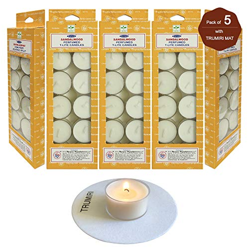 TRUMIRI Tea Lights Candles Mat Bundle with Satya Sandalwood Long Lasting Mildly Scented Candles T-Lite - Pack of 5 (60 Tealight Candles)
