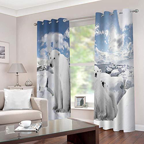 LWXBJX Cortinas Modernas Salon Opacas Dormitorio Modernos - Oso Polar de Dibujos Animados - Impresión 3D Aislantes de Frío y Calor 90% Opacas Cortinas - 264 x 240 cm - Salon Cocina Habitacion Niño Mo