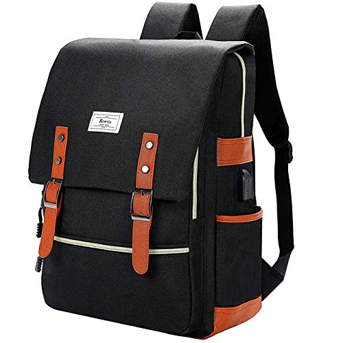 male backpack for schools Ronyes Vintage Laptop Backpack College School Bag Bookbags for Women Men 15.6'' Laptop Casual Rucksack Water Resistant School Backpack Daypacks with USB Charging Port (Black)