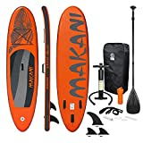 ECD Germany Tabla Hinchable Makani Paddle Surf/Sup 320 x 82 x 15 cm Naranja Stand up Paddle Board PVC/EVA hasta 150kg 3 Antideslizantes Diferentes Modelos Incluye Paleta Aluminio Bomba y Accesorios