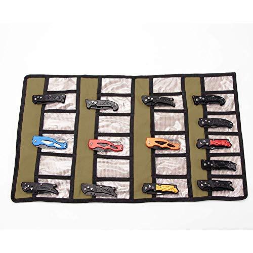 Taschenmesser-Aufbewahrungstasche, faltbar, Taschenmesser-Rolle, Leinen, taktische Messer, Rolltasche, faltbare Messer, Aufbewahrungstasche, Kleines Faltmesser, Werkzeugrolle mit 24 Schlitzen