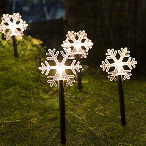 Christmas Stake Lights, Outdoor Garden Lights, Energy Saving Waterproof Lights Christmas Decorations for Patio, Walkway, Yard, Lawn (Snowflake, 5 PCS)