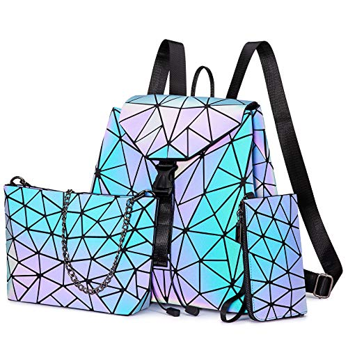 LOVEVOOK Juego de bolsos geométricos para mujer, bolso de mano, cartera, mochila holográfica, bolsa luminosa