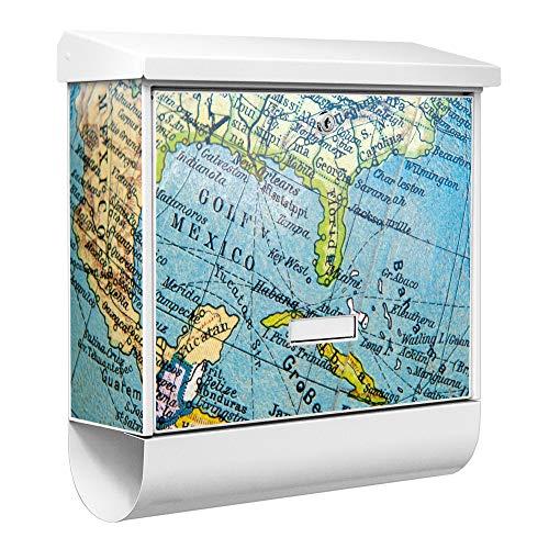 Burg-Wächter Qualitäts-Briefkasten mit Namensschild | Modell Ferrostar 38 x 39 x 12cm | weiß pulverbeschichtet mit Zeitungsfach | Motiv Globus | zur Wandmontage