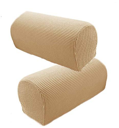 Timegoing 1 Paar Armlehnenschoner Lehnenüberwurf Hussen Bezüge Armlehnstuhlbezüge Stretch Sofa Armkappen Armlehnenbezüge für Stühle Möbelprotektor für Sofa Couch(beige)