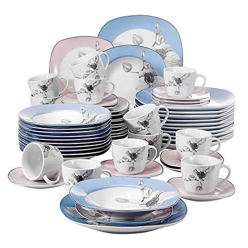VEWEET Debbie Juegos de Vajillas 60 Piezas de Porcelana con 12 Taza 175 ml, 12 Platillos, 12 Platos, 12 Platos de Postre y 12 Platos Hondos para 12 Personas