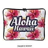 YOLIYANA Laptop Bag Aloha Hawaii Tropical Flowers Floral Ornament with Wildflowers Laptop Sleeve Bag Water-Resistant Protective Case Bag Compatible with Any Notebook 17 inch/17.3 inch