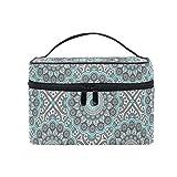 HaJie - Bolsa de maquillaje de gran capacidad, diseño bohemio tribal de la flor de mandala, portátil, bolsa de almacenamiento de artículos de tocador, bolsa de lavado para mujeres y niñas