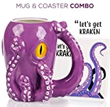 Octopus Mug & Coaster Gift Set - Unique Hand Painted Novelty 3D Ceramic Coffee Mugs Gifts. Includes Cute Coaster With a Fun Lets Get Kraken Phrase. A Cool Cup for Coffee, Tea or Kitchen Bedroom Decor