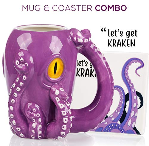 Octopus Mug & Coaster Set - Unique Hand Painted Novelty 3D Ceramic Coffee Mugs. Includes Cute Coaster With a Fun Lets Get Kraken Phrase. A Cool Cup for Coffee, Tea or Kitchen Bedroom Decor