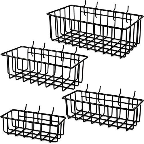 ToolAssort Pegboard Basket Set of 4 Hooks Easily to Arrange Accessories Organizer Bins Transform Any Garage Crafts Room Nursery or Kitchen Black Vinyl Coated Wire Basket Kit