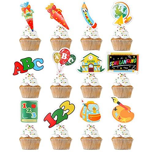 Schulanfang Cupcake Topper Dekorationen,12 Cupcake Toppers für Tortendeko Einschulung Schulanfang ,Jungen & Mädchen Schulanfang Party Kuchen Dekorationen