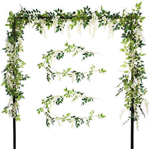 Felice Arts 2 Pcs White Artificial Wisteria Flowers Garland Fake 6.6 Feet Wisteria Vine Green Leaf Hanging Flower for Wedding Arch Party Garden Wall Floral Table Runner Backdrop Outdoor Decor