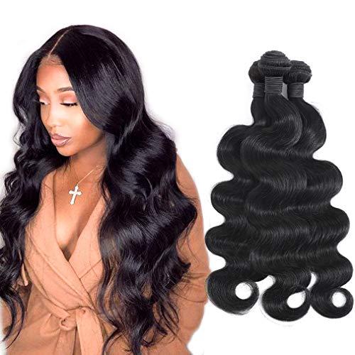 10A Grade Brazilian Virgin Hair Body Wave Bundles Natural Black for Women 100% Unprocessed Virgin Brazilian Body Wavy Human Hair Weave 3 Bundles 10 12 14 Inch Brazilian Body Wave Human Hair Extensions
