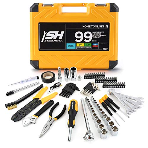 "STEELHEAD 99-Piece Automotive Tool Set, 3/8"" & 1/4"" Sockets, Sparkplug, Bits, Screwdrivers, Pliers, Wire Stripper, Wrenches, Reinforced Case, Great for Home, Office, Dorm, Electrical, US-Based Support"