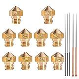 MK10 Nozzle for 3D Printer, M7 Thread Brass Extruder Head Hotend Nozzle 1.75mm Filament with Cleaning Needles, 4Pcs 0.4mm Nozzle + 1Pcs Nozzle x (0.2 0.3 0.5 0.6 0.8 1.0 mm)