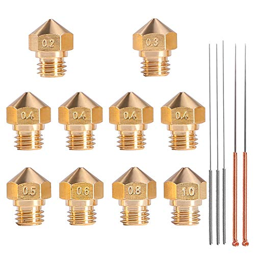 MK10 Nozzle for 3D Printer, M7 Thread Brass Extruder Head Hotend Nozzle 1.75mm Filament with Cleaning Needles, 4Pcs 0.4mm Nozzle + 1Pcs Nozzle x (0.2 0.3 0.5 0.6 0.8 1.0 mm)