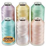 New brothread Conjunto de 6 Colores Pastel-2 Poliéster Bordado Máquina Hilo Grande carrete 5000M para todas las máquinas de bordado