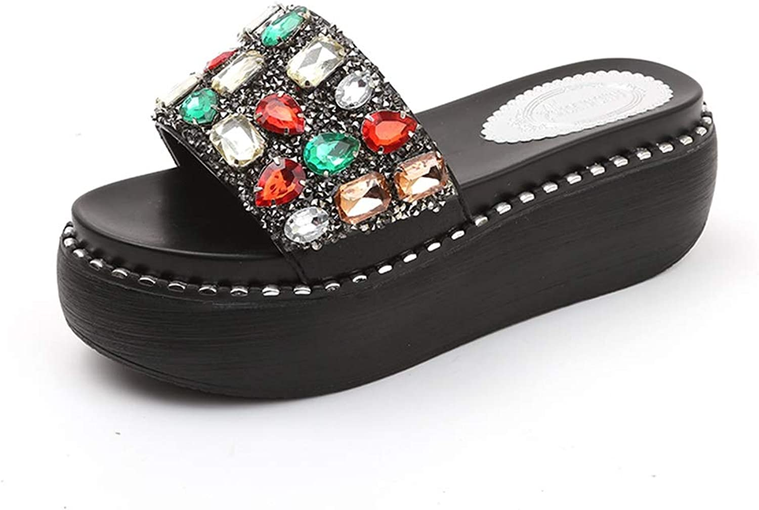T-JULY Summer Slides Sandals for Women Beach shoes Crystal Rivets Wedges Slippers