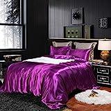 Purple Bedding Silk Like Satin Duvet Cover Set Silky Dark Purple Quilt Cover Solid Microfiber Bedding Sets Queen 1 Duvet Cover 2 Pillowcases (Dark Purple, Queen)