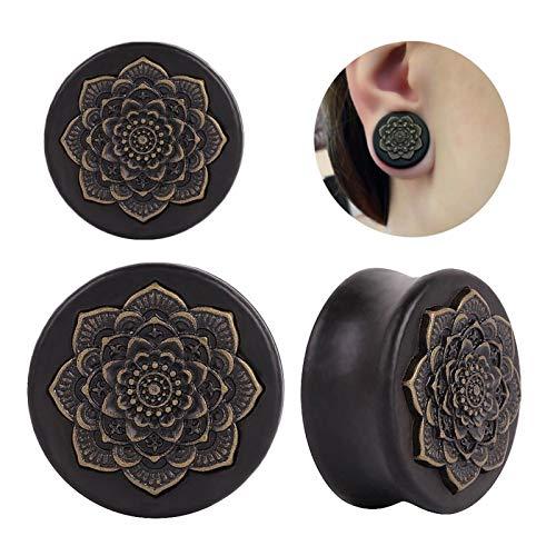 Homeilteds 2 Stücke Schwarz Natürliche Holz Mandala Blume Ohrstecker Tunnel Ohr Expander Piercing Body Schmuck Plugs (Metal Color : 12mm)