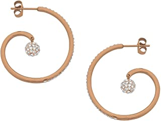 Bevilles Rose Gold Stainless Steel Open Swirl and Crystal Pave Ball Hoop Earring