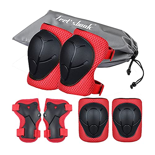Kids Kneepads and Elbow Pads Knee Pads for Kids Knee and Elbow Pads Skateboard Knee Pads and Elbow Pads for Kids 3-8 Kids Knee Pads Set - 6 Pcs Bike Protective Gear Kids Scooter Cycling Skating (Red)