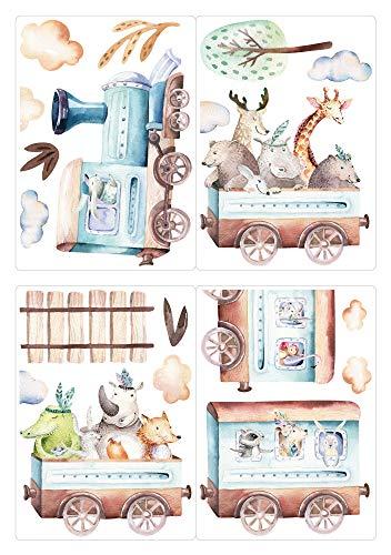 dekodino® Fenstersticker Kinderzimmer Tiere in der Lokomotive Set
