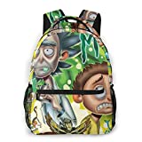 NiYoung Durable Polyester Rucksacks Cartoon Crazy Rick-and-Morty Art Camping Outdoor Backpack - Large Capacity Multipurpose Anti-Theft Carry-On Bag for Girls Boys