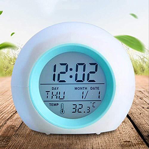 Reloj Despertador con Cambio De Color Creativo, Reloj Despertador con Gradiente De Luz Colorido Y Redondo con Bola De Calendario, Reloj Despertador para Niños Reloj Blanco