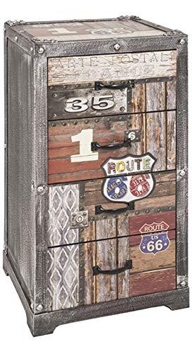 Haku Möbel Kommode - MDF Dekor Schriftzug Vintageoptik - 4 Schubladen H 77 cm