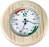 SudoreWell® Sauna Klimamesser rund mit Thermometer + Hygrometer im Holzrahmen Ø 150mm