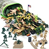 156 Piece Army Men Toys for Boys, World War II Military Toy Soldier Action Figures Battlefield Playset and Accessories with Handbag for Party Favor