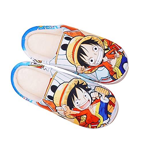 YZJYB Japanisch Cartoon One Piece Korallenvlies Hausschuhe 3D Drucken Monkey D. Luffy Warm Plüsch Pantoffeln für Herren Damen Anime Slippers,Schwarz,EU 44~46(300)