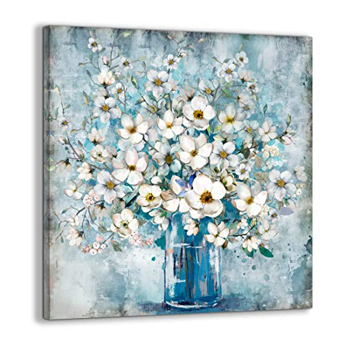 Bathroom Decor Canvas Wall Art Framed Wall Decoration Modern Gallery Wall Decor Print White Flower in Blue Bottle Theme Picture Artwork for Walls Ready to Hang for Kitchen Bedroom Decor Size 30x30