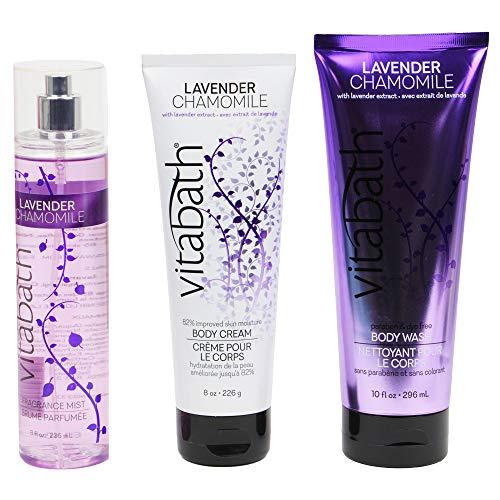 Vitabath Daily Nourish Skin Body Cream and Body Wash Skin Care Moisturizing Repairing Set (Lavender Chamomile)