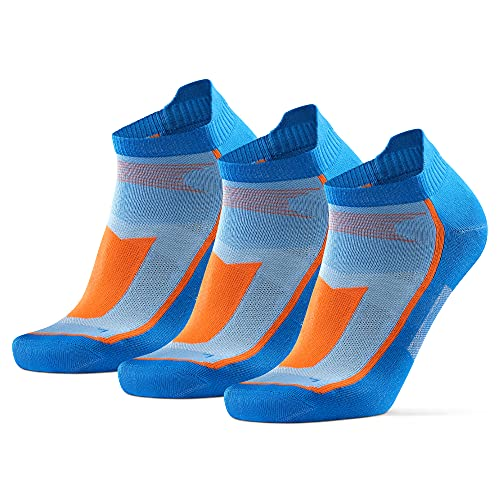 DANISH ENDURANCE Calcetines de Deporte Low Cut Pack de 3 (Azul/Naranja, EU 43-47)