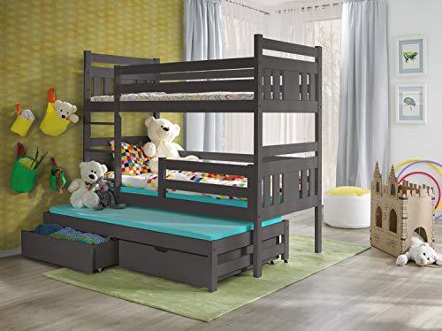 Com4t-Etagenbett mit Matratze, Grau, 3 Schlafplätze, Holz, mit 2 Schubladen