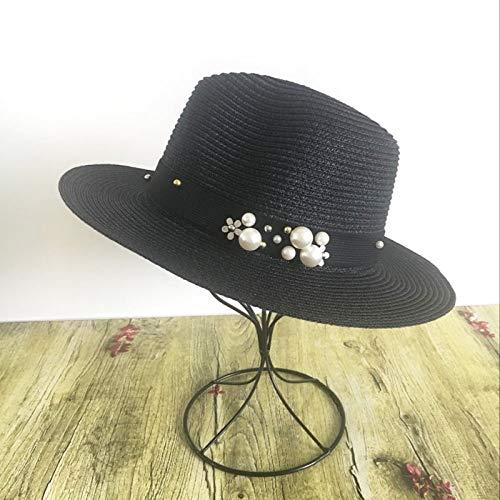 ZJMIYJ Damen Sonnenhut,Stereoskopische Perle Sommerhut Nähen Farbe Strand Urlaub Stroh Sonnenhüte Für Frauen Sommer Stil Hut