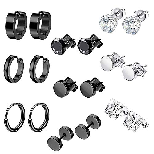 9 Pairs Pendientes Acero Inoxidable Hombres,Pendientes Unisex,Pendientes Sin Alergias Hombres,Neutral Earrings In A Mix Of Silver And Black,Used On Ear Cartilage Or Other Parts