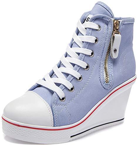 Solshine Damen Canvas Sneaker Wedge Turnschuhe mit 8cm Keilabsatz 689 Blau 38EU
