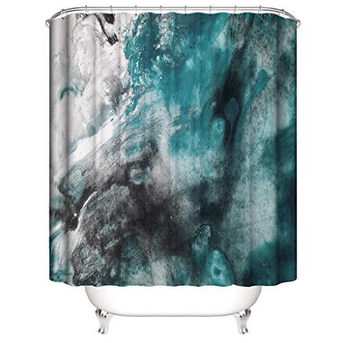 Xmiral Duschvorhänge Wasserdicht Ozean Gedruckte Polyester Badezimmer Gardinemit 12 Haken 180x180cm(D)